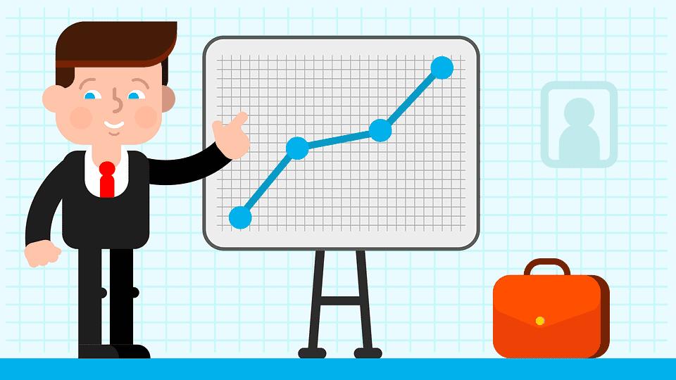 Landing Pages kurbeln dein Business an. Auf diesem Bild wird gezeigt, wie der Umsatz steigt, wenn man die passende Landingpage hat.