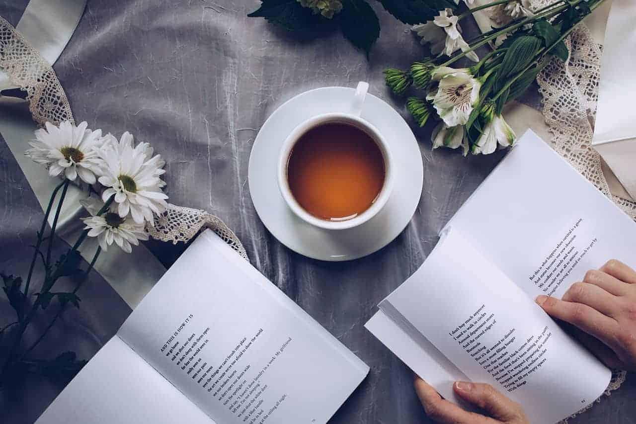 Eine Tasse Griechischer Bergtee zwischen zwei Büchern und Blumen. Der Tee soll beim lernen und entspannten Lesen helfen.