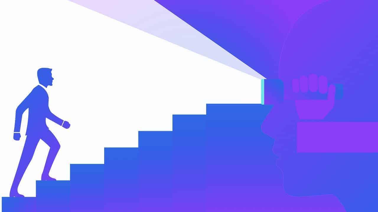 Eine Grafik eines Manner, der eine Treppe hoch steigt symbolisiert den Fokus auf das Mindset zum Fit werden.