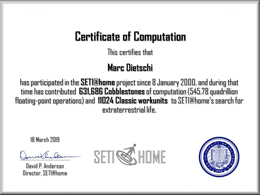 zertifikat seti - Ausserirdische suchen mit SETI@Home