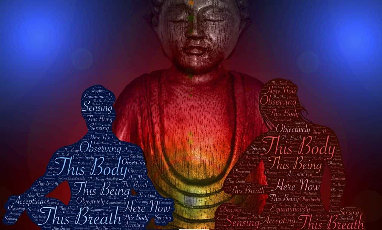 Vipassana Meditation bildlich dargestellt durch eine Buddha-Statue, einer männlichen und einer weiblichen Person, welche meditieren.