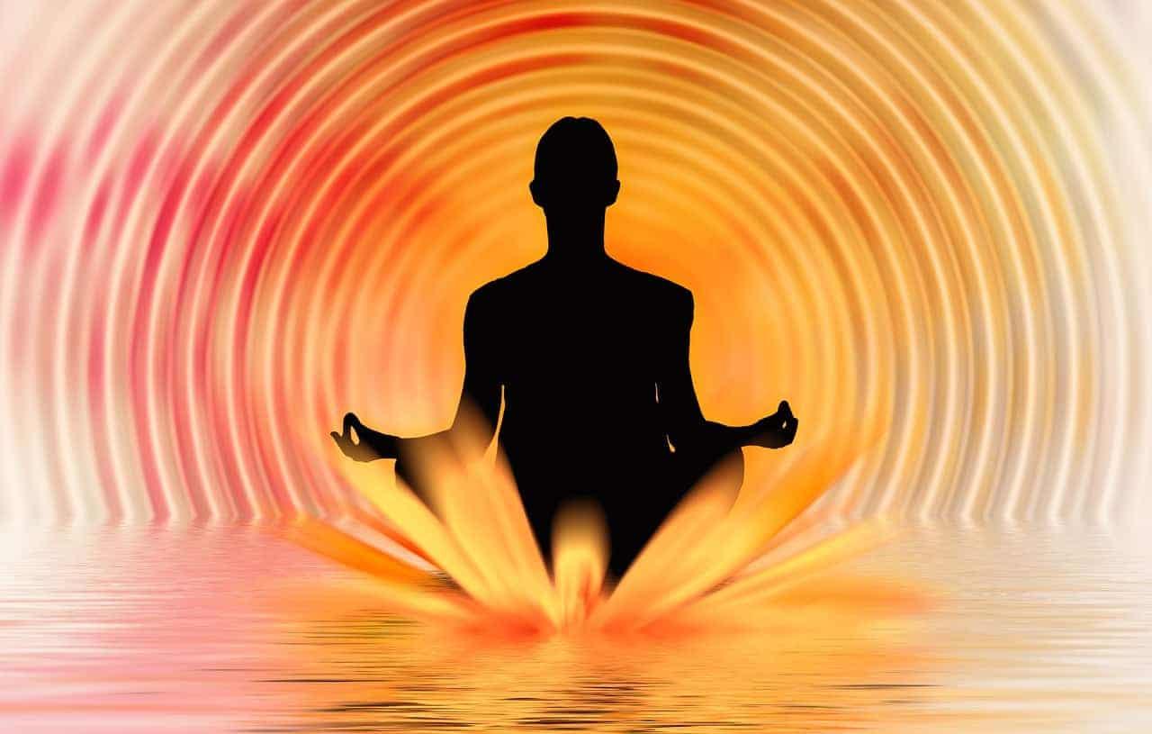 Grafik eines Mannes während der Transzendentale Meditation. Er sitzt im Lotus auf dem Wasser.