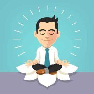 Eine Zeichnung eines Mannes, der im Business-Anzug meditiert.