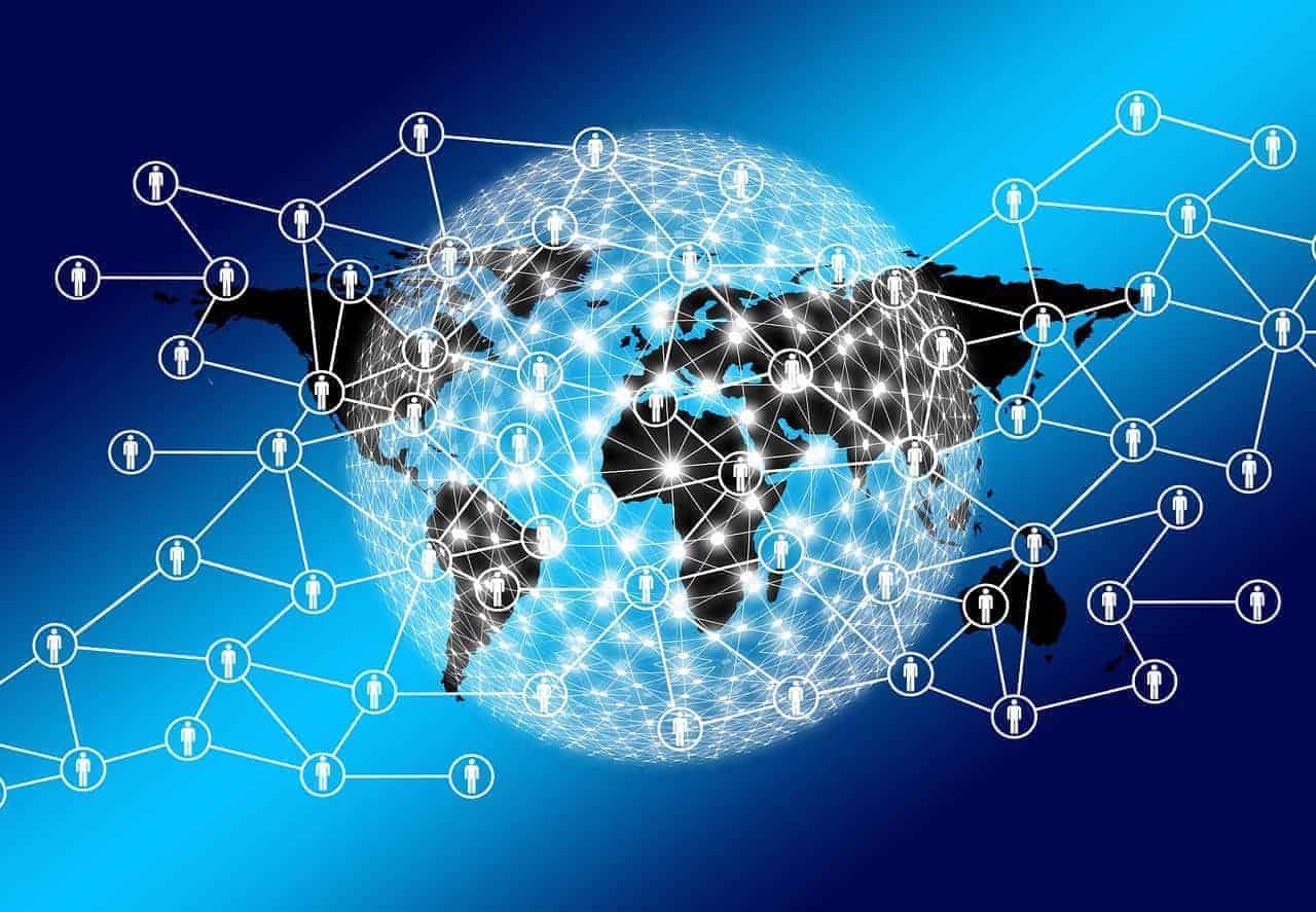 Die Erde als Netzwerk von Usern symbolisch dargestellt auf blauem Hintergrund. Es zeigt, wie über Social Media jede Person direkt oder indirekt mit allen anderen in Verbindung steht. Über dieses organische Netzwerk verbreiten sich virale Botschaften über Handlungen der jeweiligen User.
